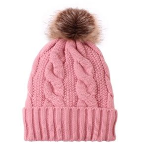 New  Pompom Pink Cable Knit Beanie Fleece Hat